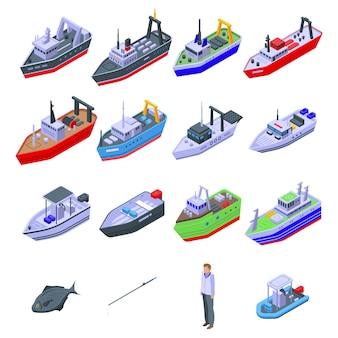 Jeu d'icônes de bateau de pêche.