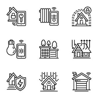 Jeu d'icônes de bâtiment intelligent. ensemble de contour de 9 icônes de bâtiment intelligent