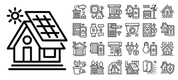 Jeu d'icônes de bâtiment intelligent, style de contour