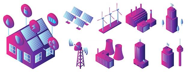 Jeu d'icônes de bâtiment intelligent, style isométrique