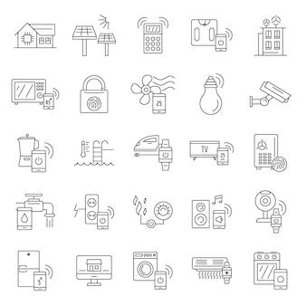 Jeu d'icônes de bâtiment intelligent