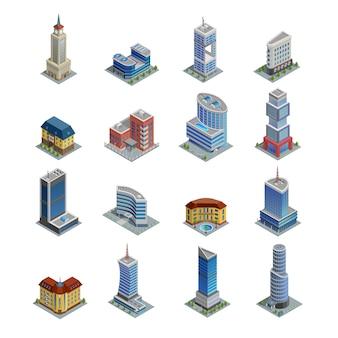Jeu d'icônes de bâtiment isométrique