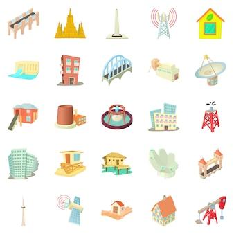 Jeu d'icônes de bâtiment, style cartoon