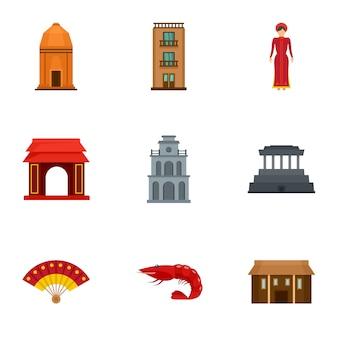Jeu d'icônes de bâtiment vietnam, style plat