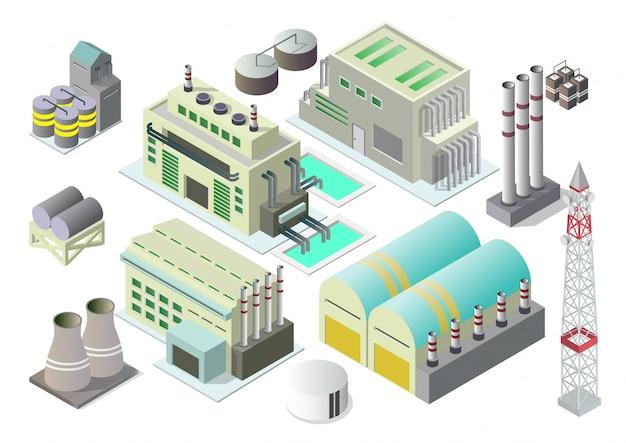Jeu d'icônes de bâtiments industriels isométriques.