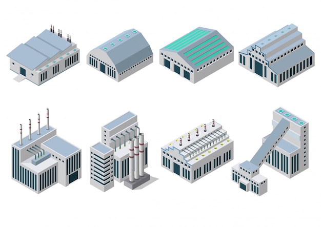 Jeu d'icônes de bâtiments industriels.