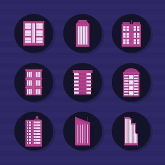 Jeu d'icônes de bâtiments de la ville
