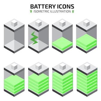 Jeu d'icônes de batterie isométrique