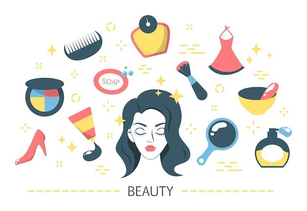 Jeu d'icônes de beauté. collection de cosmétiques et de peau