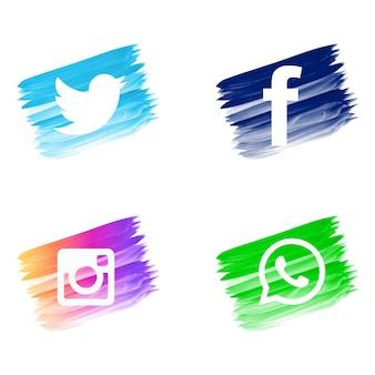 Jeu d'icônes de beaux médias sociaux aquarelle