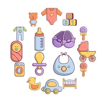 Jeu d'icônes de bébé né, style cartoon