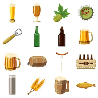 Jeu d'icônes de bière, style cartoon