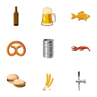 Jeu d'icônes de la bière, style cartoon