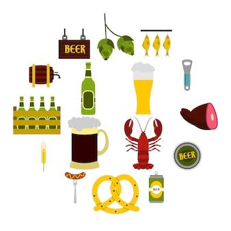 Jeu d'icônes de bière, style plat