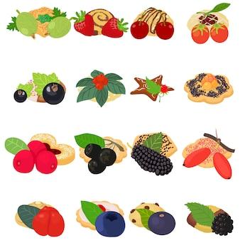 Jeu d'icônes de biscuits aux fruits