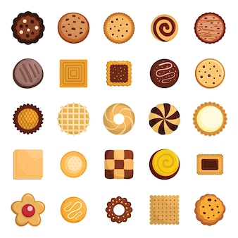 Jeu d'icônes de biscuits biscuits