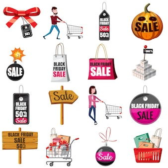 Jeu d'icônes black friday sales, style cartoon