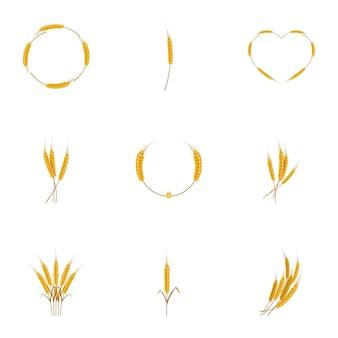 Jeu d'icônes de blé, style cartoon