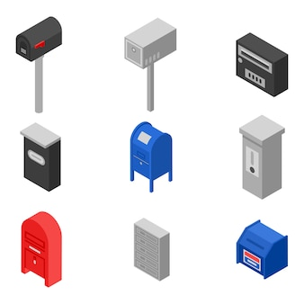 Jeu d'icônes de boîte aux lettres, style isométrique