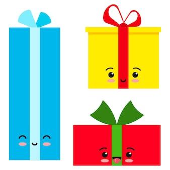 Jeu d'icônes de boîte cadeau emoji isolé sur fond blanc. les vacances de dessin animé rouge, jaune et bleu présentent des symboles d'émoticône, de salutation et de célébration. illustration de caractère kawaii vecteur design plat.