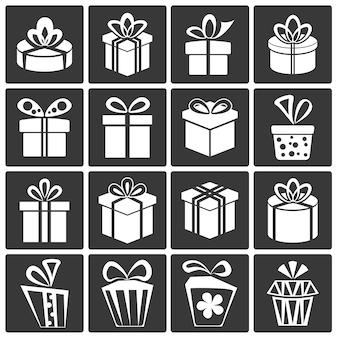 Jeu d'icônes de boîte cadeau
