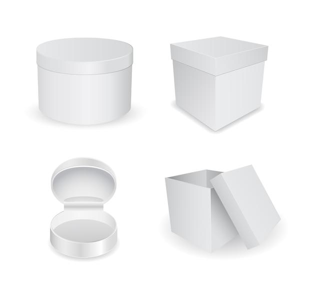 Jeu d'icônes de boîte d'emballage en carton blanc