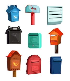 Jeu d'icônes de boîtes aux lettres