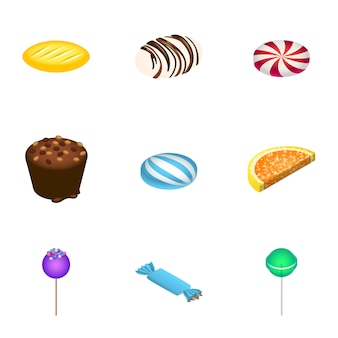 Jeu d'icônes de bonbons de vacances. ensemble isométrique de 9 icônes de bonbons de vacances