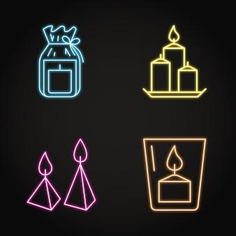 Jeu d'icônes de bougies au néon