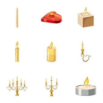 Jeu d'icônes de bougies, style cartoon