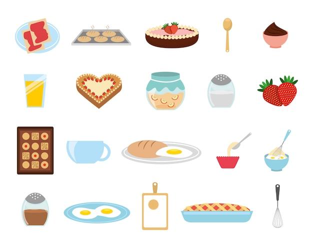 Jeu d'icônes de boulangerie sucrée