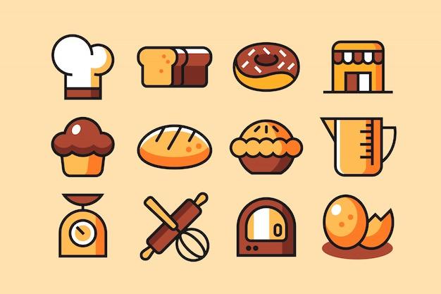 Jeu d'icônes de boulangerie