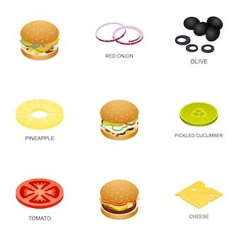 Jeu d'icônes de boulettes de viande, style isométrique