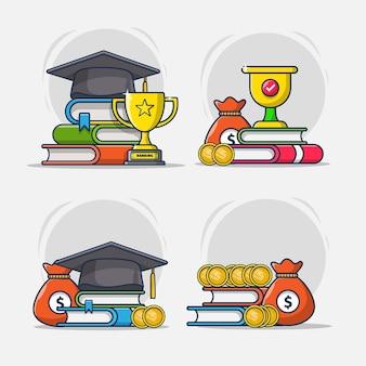 Jeu d'icônes de bourses d'études universitaires