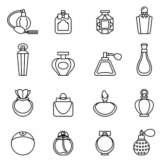 Jeu d'icônes de bouteille de parfum. vecteur stock de style de ligne mince.