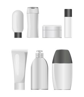 Jeu d'icônes de bouteille en plastique cosmétique