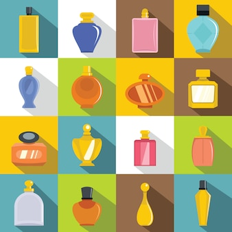Jeu d'icônes de bouteilles de parfum, style plat