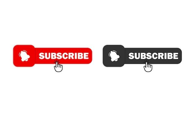 Jeu d'icônes de bouton d'abonnement. concept de suiveur de médias sociaux. vecteur eps 10. isolé sur fond blanc.