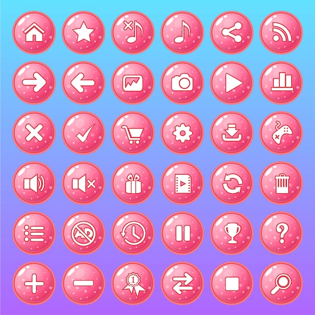 Jeu d'icônes de bouton couleur gelée brillante de style rose.