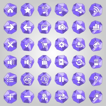 Jeu d'icônes de bouton polygone de couleur pourpre.