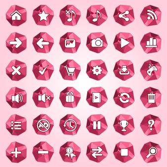 Jeu d'icônes de bouton polygone de couleur rouge.