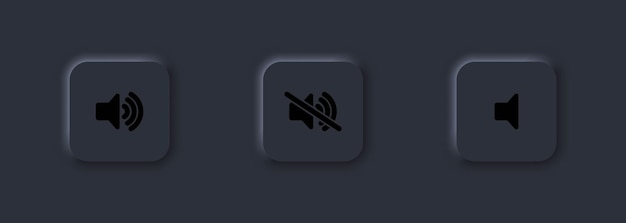 Jeu d'icônes de boutons de contrôle du volume sonore haut, bas ou muet. bouton du lecteur multimédia. neumorphisme.