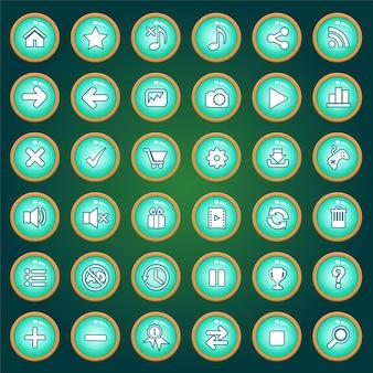 Jeu d'icônes et de boutons de couleur verte pour les jeux.