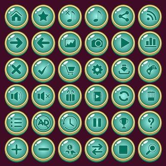 Jeu d'icônes de boutons design forme de luxe couleur verte pour le jeu.