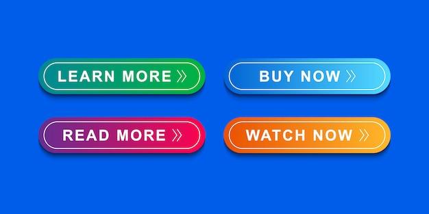 Jeu d'icônes de boutons pour site web, modèle d'icône et interface utilisateur