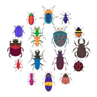 Jeu d'icônes de bugs insectes, style cartoon