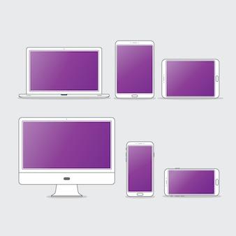 Jeu d'icônes de bureau ordinateur plat
