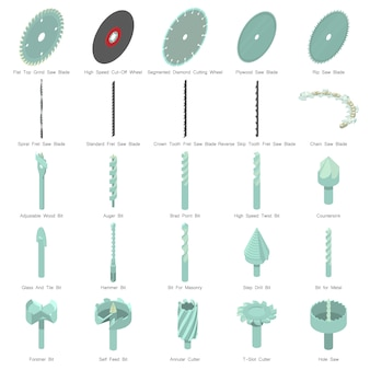 Jeu d'icônes de buse de forage. illustration isométrique de 25 icônes vectorielles buse de perceuse pour le web