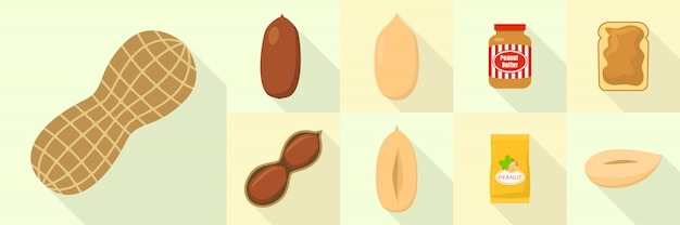 Jeu d'icônes de cacahuète, style plat