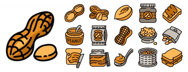 Jeu d'icônes de cacahuètes, style de contour